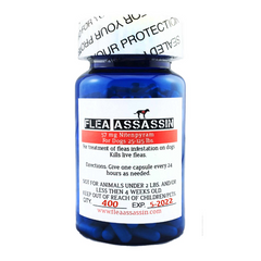 Flea Assassin Rapid Flea Killer Cats Dogs 25-125 lbs, Red Label - 400 capsules