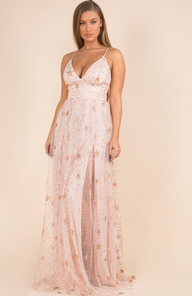 Rose Gold Sequin Star Maxi Dress
