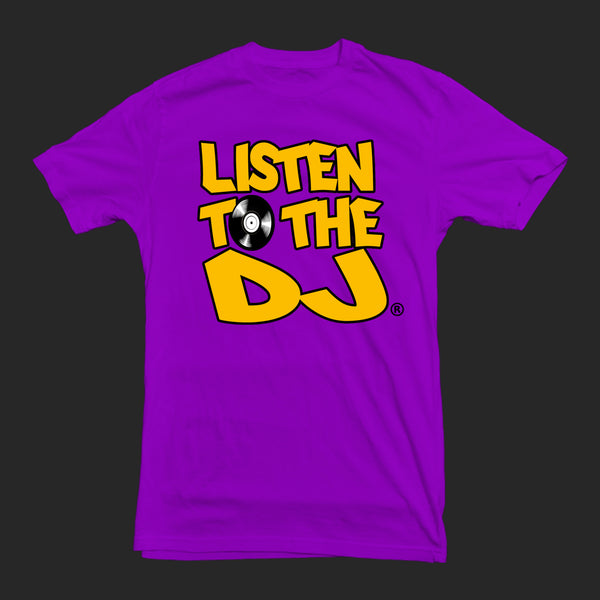 Purple / Yellow Logo - Listen to the DJ T-Shirt