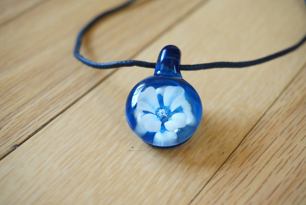 Handmade Glass Flower Implosion Pendant