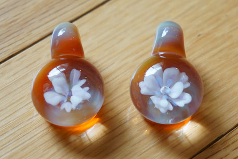 TWO Handmade Glass Flower Implosion Pendants