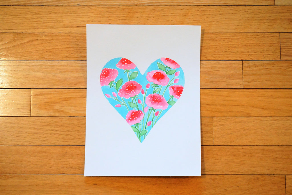 Pretty Roses Heart Shaped Watercolor Print (no frame included)