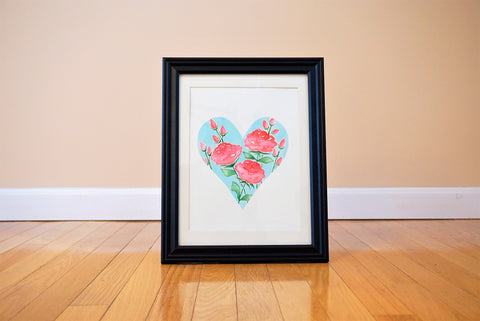 Pretty Bundle of Roses Heart Shaped Watercolor Print (frame not included)