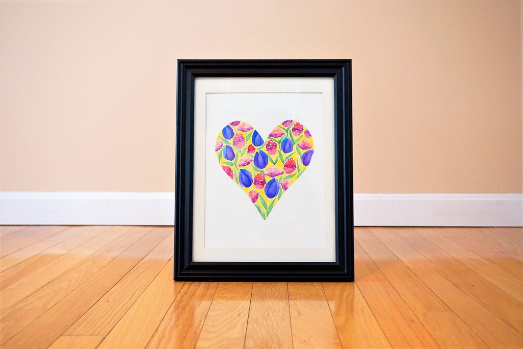 Spring Inspired Heart Watercolor Print (frame not included)