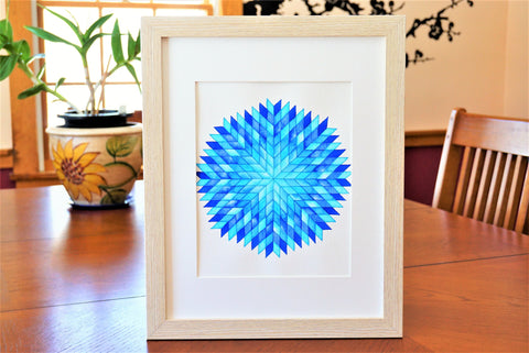 Geometric Shaped Watercolor Print (frame not included) Quilt Pattern