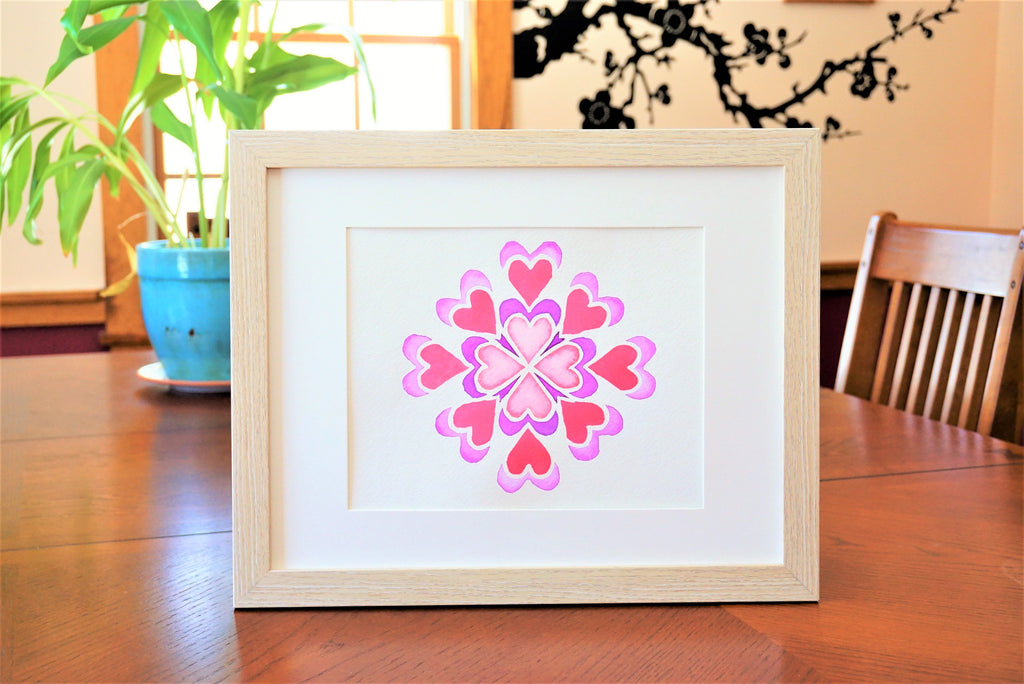 Geometric Heart Shaped Watercolor Print (frame not included) Country Home Decor