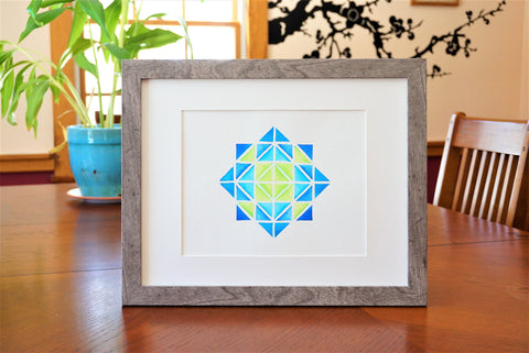 Geometric Star Shaped Watercolor Print (frame not included) Home Staging