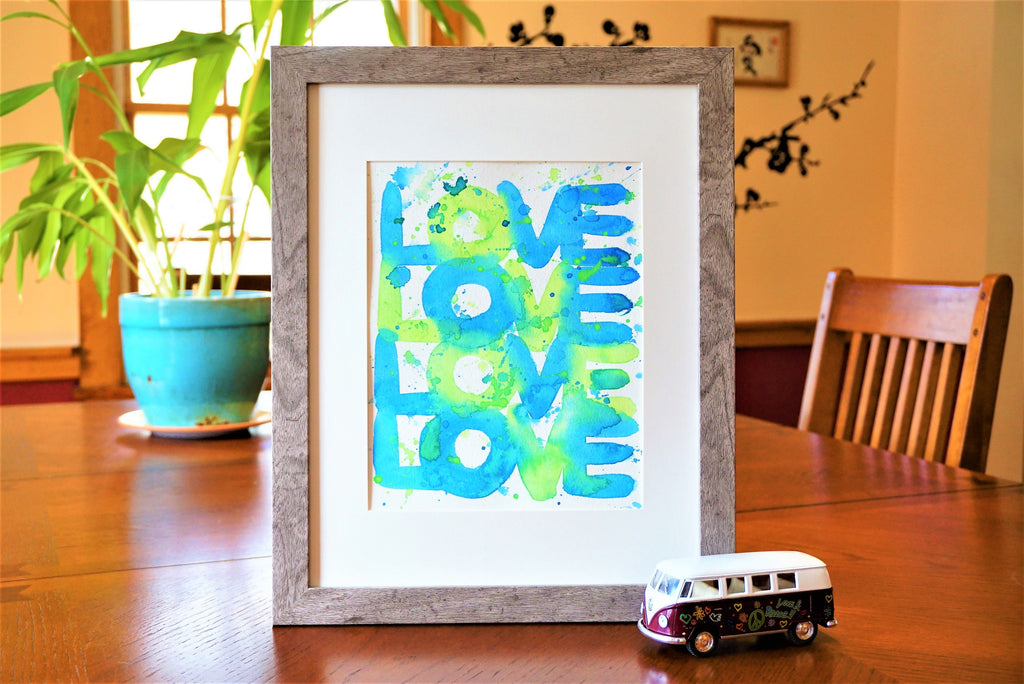 Word Art Watercolor Print (frame not included) Office, Studio, Bedroom