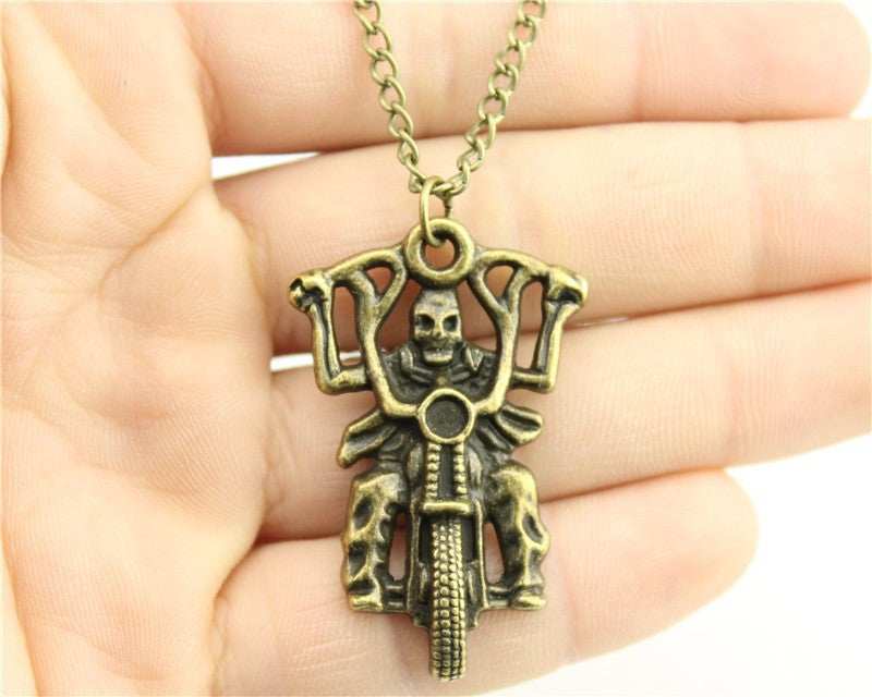 Motorcycle Skull Rider Necklace