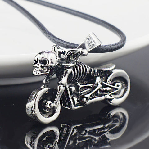 Skeleton Motorcycle Pendant Necklace