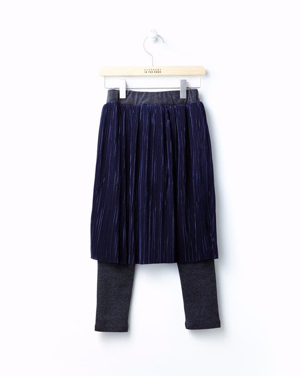 Pleats Skirt With Attached Leggings - benne bonbon