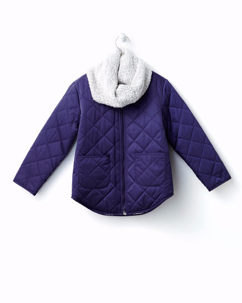 Quilted Jacket and Winter Scarf Set - Navy - benne bonbon