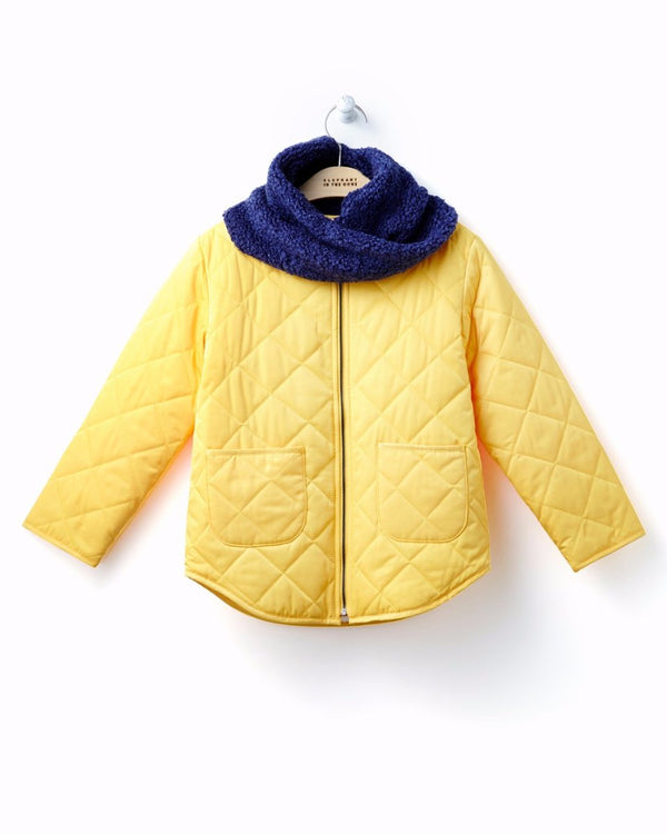 Quilted Jacket and Winter Scarf Set - Yellow-Outerwear, Jacket-benne bonbon