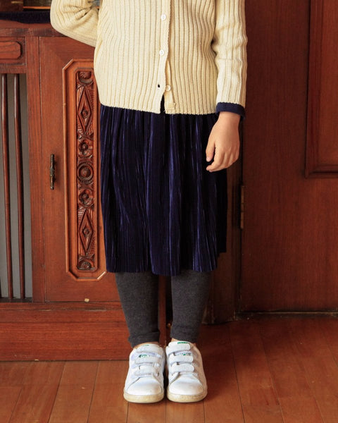 Pleats Skirt With Attached Leggings-Bottom, Skirt-benne bonbon