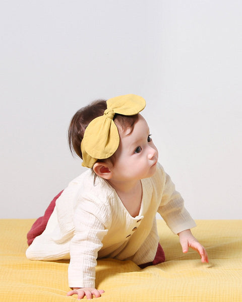 Big Ribbon Linen Rabbit Ear Headband, Pink/Mustard - benne bonbon