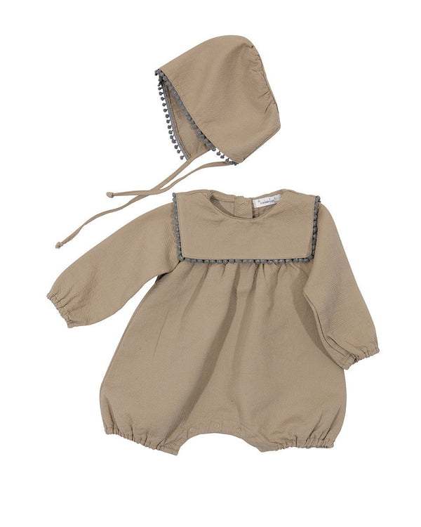 PomPom Romper Bodysuit and Bonnet Set, Brown/Khaki-Bodysuit, Onesie-benne bonbon