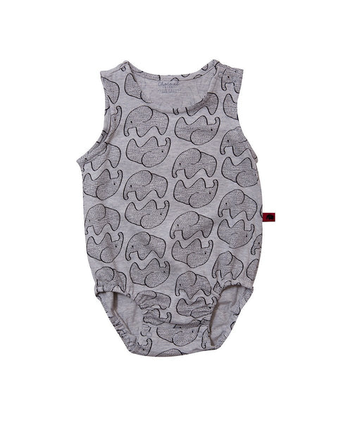 Elephant Printed Cotton Bodysuit - benne bonbon