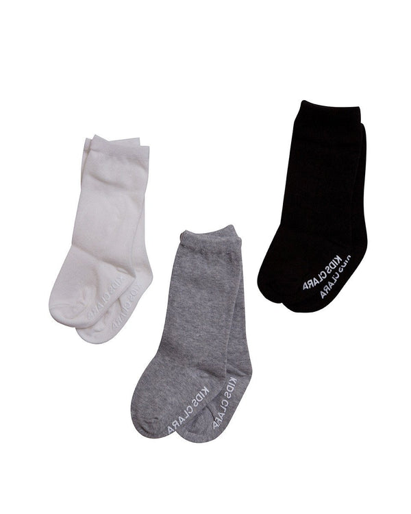 Basic Monochrome Knee Socks, Set of 3-Acc, Socks-benne bonbon