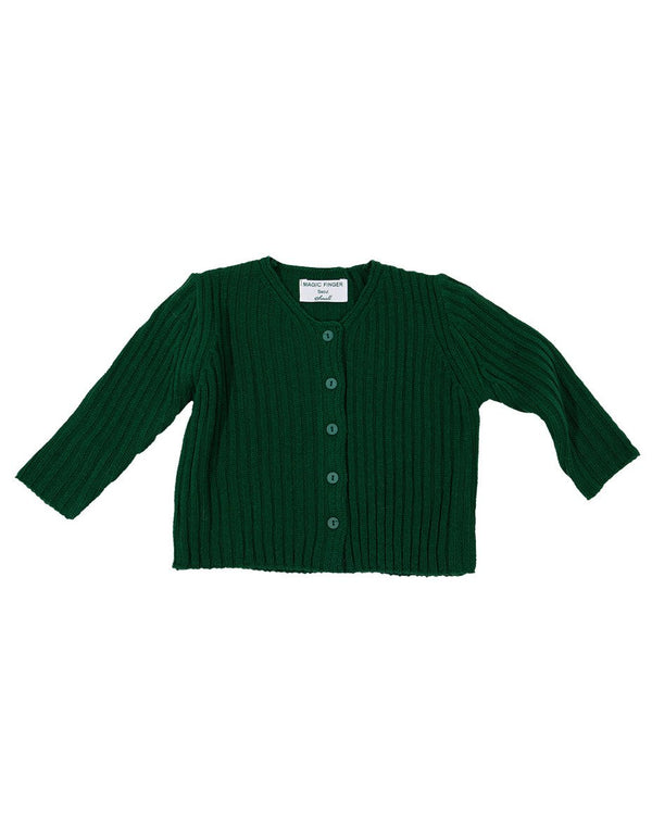Button Closure Full Sleeve Knit Cardigan, Green/Ivory/Black - benne bonbon
