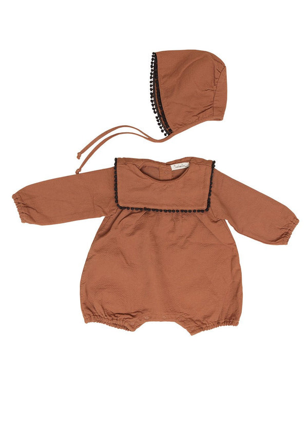 PomPom Romper Bodysuit and Bonnet Set, Brown - benne bonbon