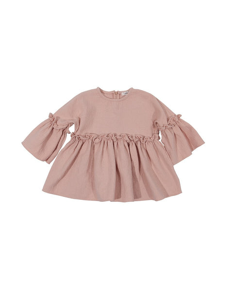Loose Frill Ruffled Sleeve Dress, Grey/Pink - benne bonbon
