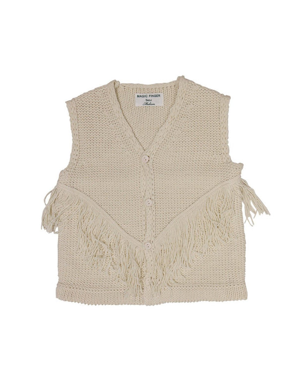 Cowboy Sleeveless Cotton Knit Vest-Outerwear, Vest-benne bonbon