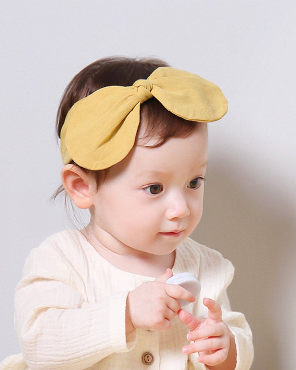 Big Ribbon Linen Rabbit Ear Headband, Pink/Mustard-Acc, Hair-benne bonbon