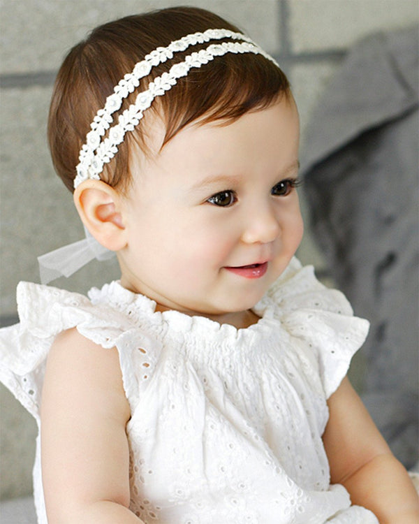 Mesh Ribbon with Pearl and Crystal Headband-Acc, Hair-benne bonbon