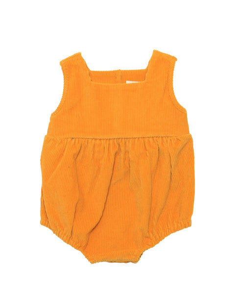 Button Clousure Cotton Corduroy Romper, Mustard/Blue - benne bonbon