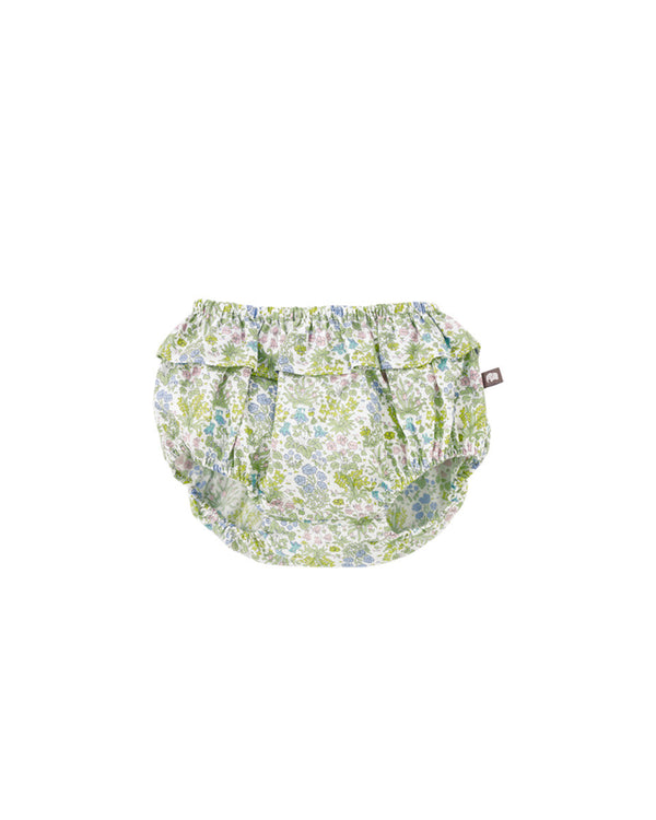 Frilly Ruffled Diaper Cover Bloomer, Brown/Green - benne bonbon