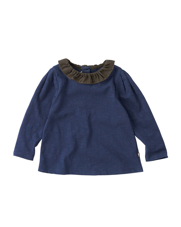 Color Block Frill Ruffled Collar T-shirt-Top, T-shirt-benne bonbon