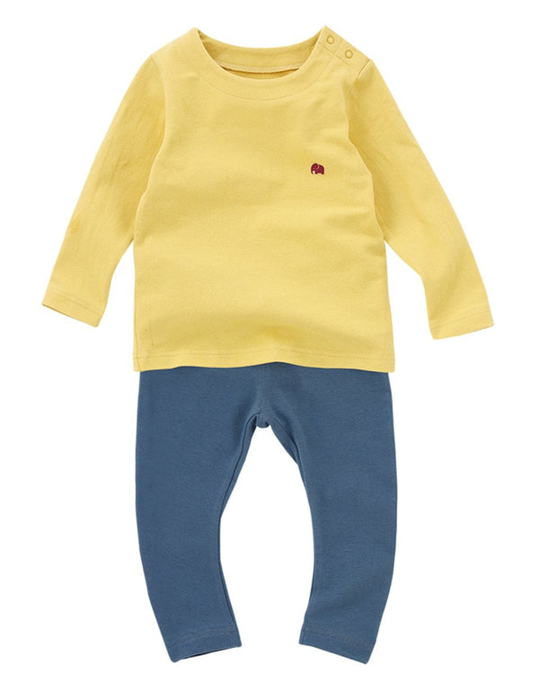 Mustard Thermal Underwear Long Johns Set-Sleepwear, Pajama-benne bonbon