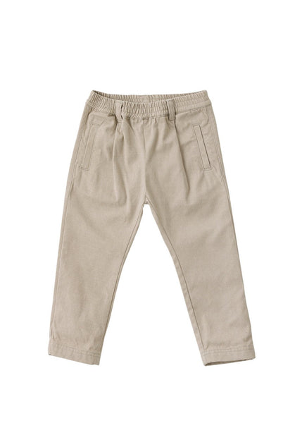 Straight Leg Semi Baggy Pants, Grey/Beige - benne bonbon
