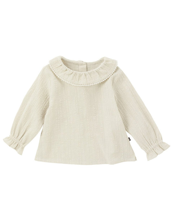 Souffle Ruffle Full Sleeve Blouse-Top, Blouse-benne bonbon
