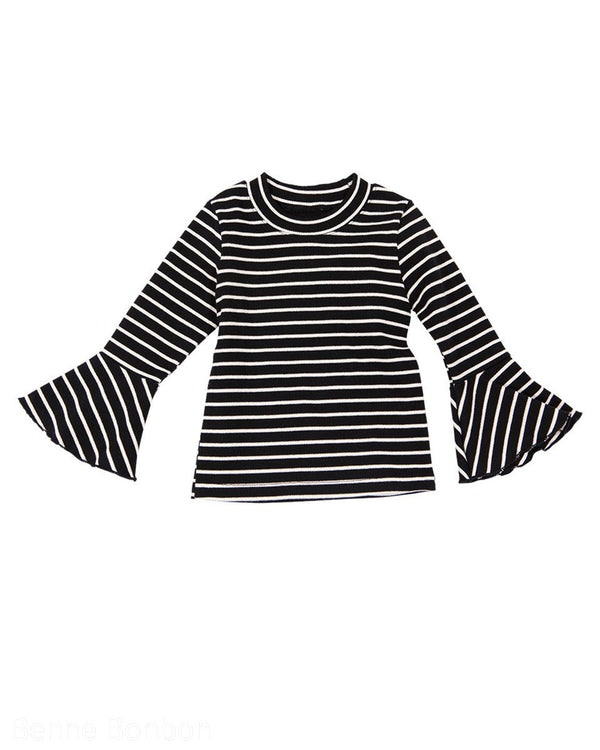 Bell Sleeve Striped Round Neck Top-Top, T-Shirt-benne bonbon