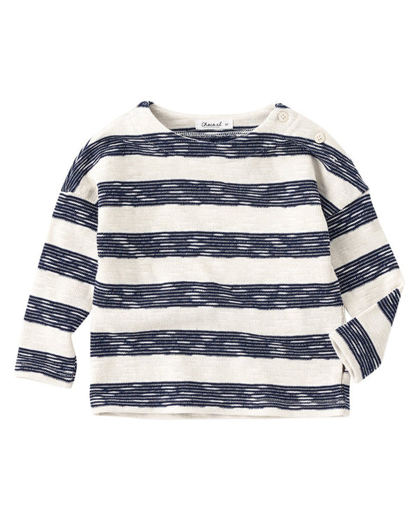 Everyday Full Sleeve Round Neck Stripe Tee, Navy/Mustard-Top, T-shirt-benne bonbon