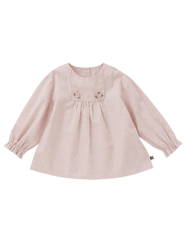 Chloe Full Sleeve Embroidery Blouse, Yellow/Pink - benne bonbon