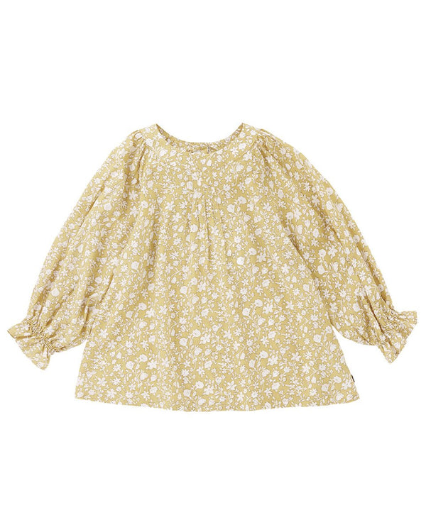 Forem Yellow Full Ruffled Sleeve Blouse-Top, Blouse-benne bonbon