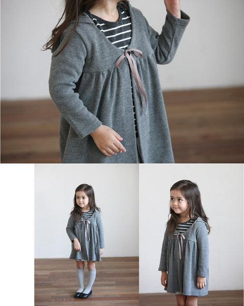 Ribbon Closure Hooded Pancho Cardigan, Brown/Grey - benne bonbon
