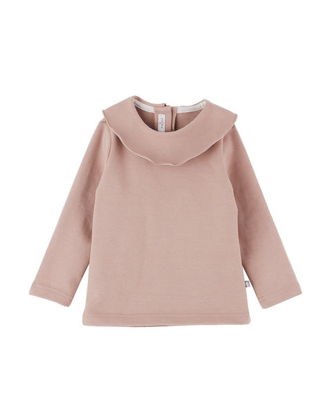 Arabella Ruffled Collar Full Sleeve Top, Grey/Pink - benne bonbon