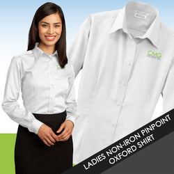 CMG Ladies Non-Iron Pinpoint Oxford Shirt