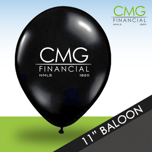 Black CMG Balloons with White Logo - Packs of 50
