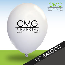 White CMG Balloons with Black Logo - Packs of 50