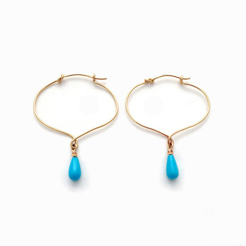 Lotus Knot Hoop with Sleeping Turquoise Drop Earring -  Chorthip