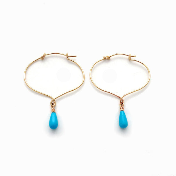 Lotus Knot Hoop with Sleeping Turquoise Drop Earrings - Earrings Chorthip