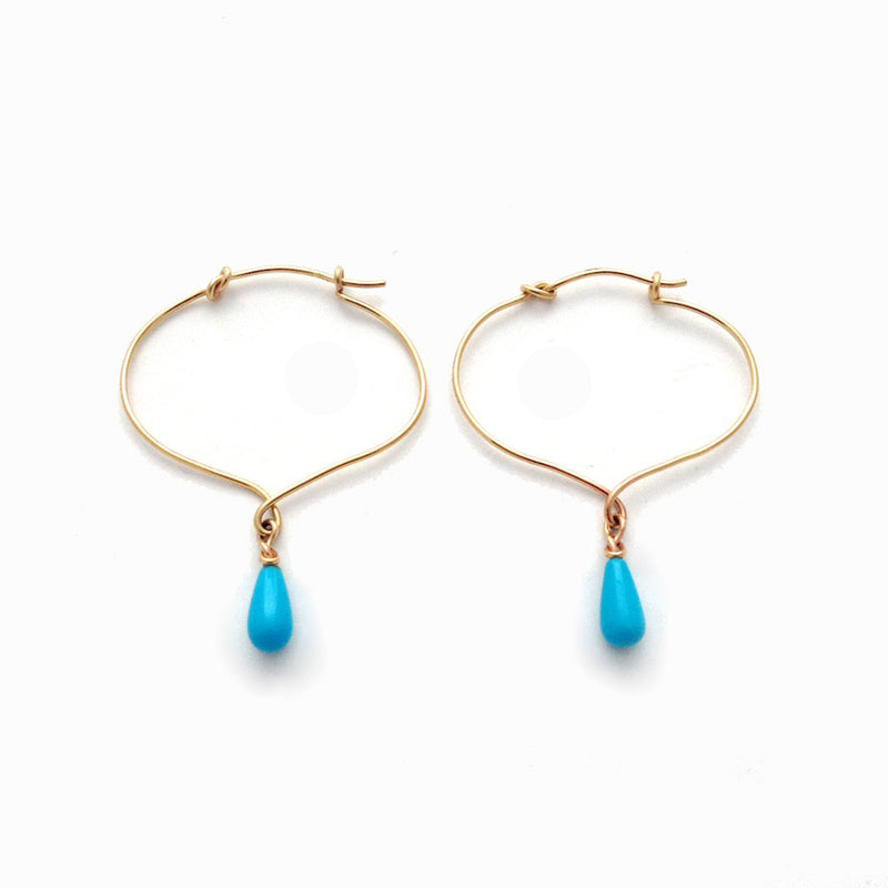 Lotus Knot Hoop with Sleeping Beauty Turquoise Drop Earrings - Earrings Chorthip