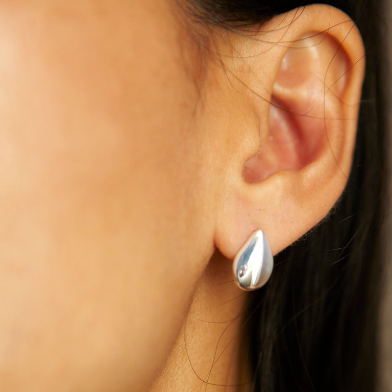 Medium Button Raindrop Earrings -  Chorthip