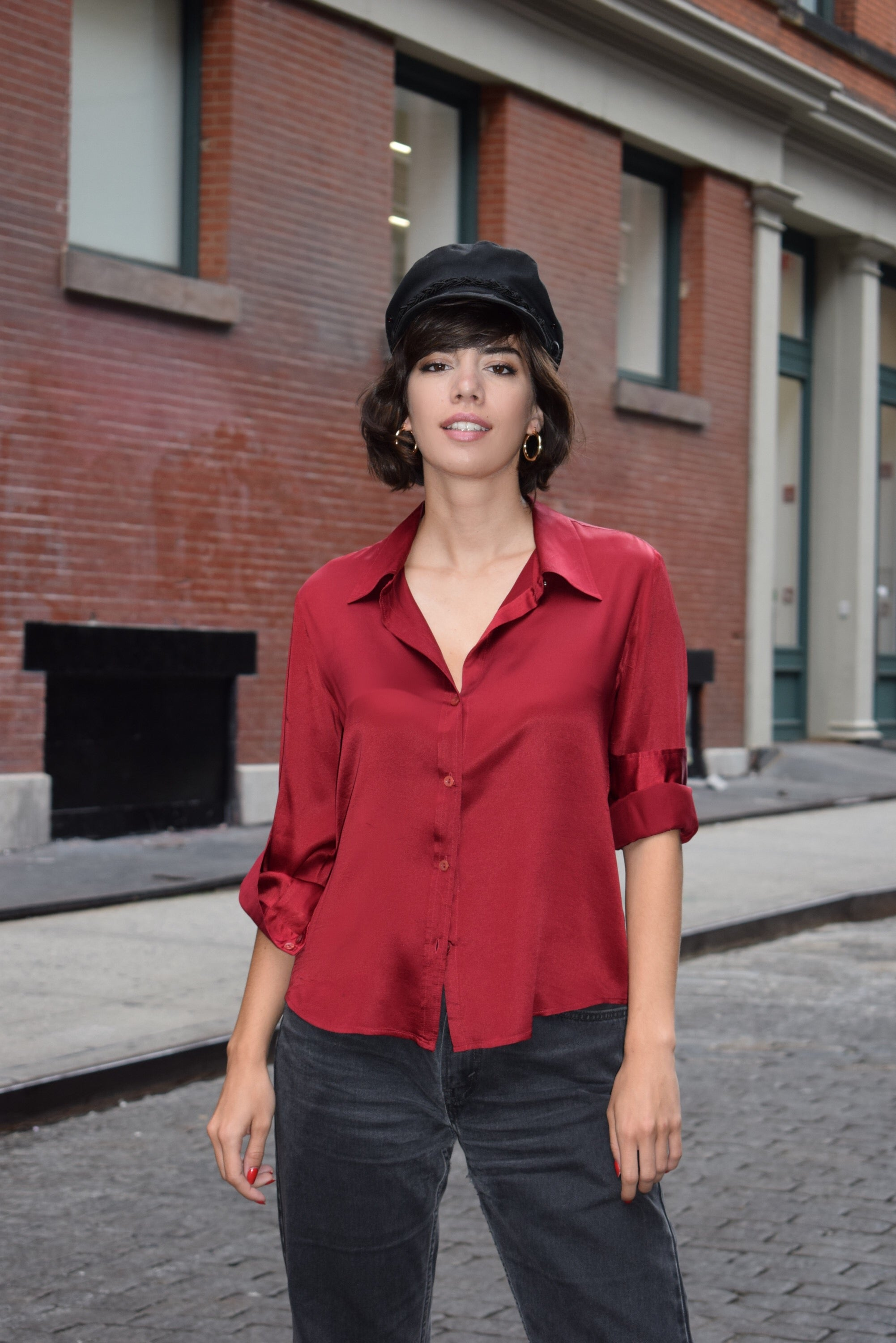 1990's vintage ruby red silk shirt 'L'
