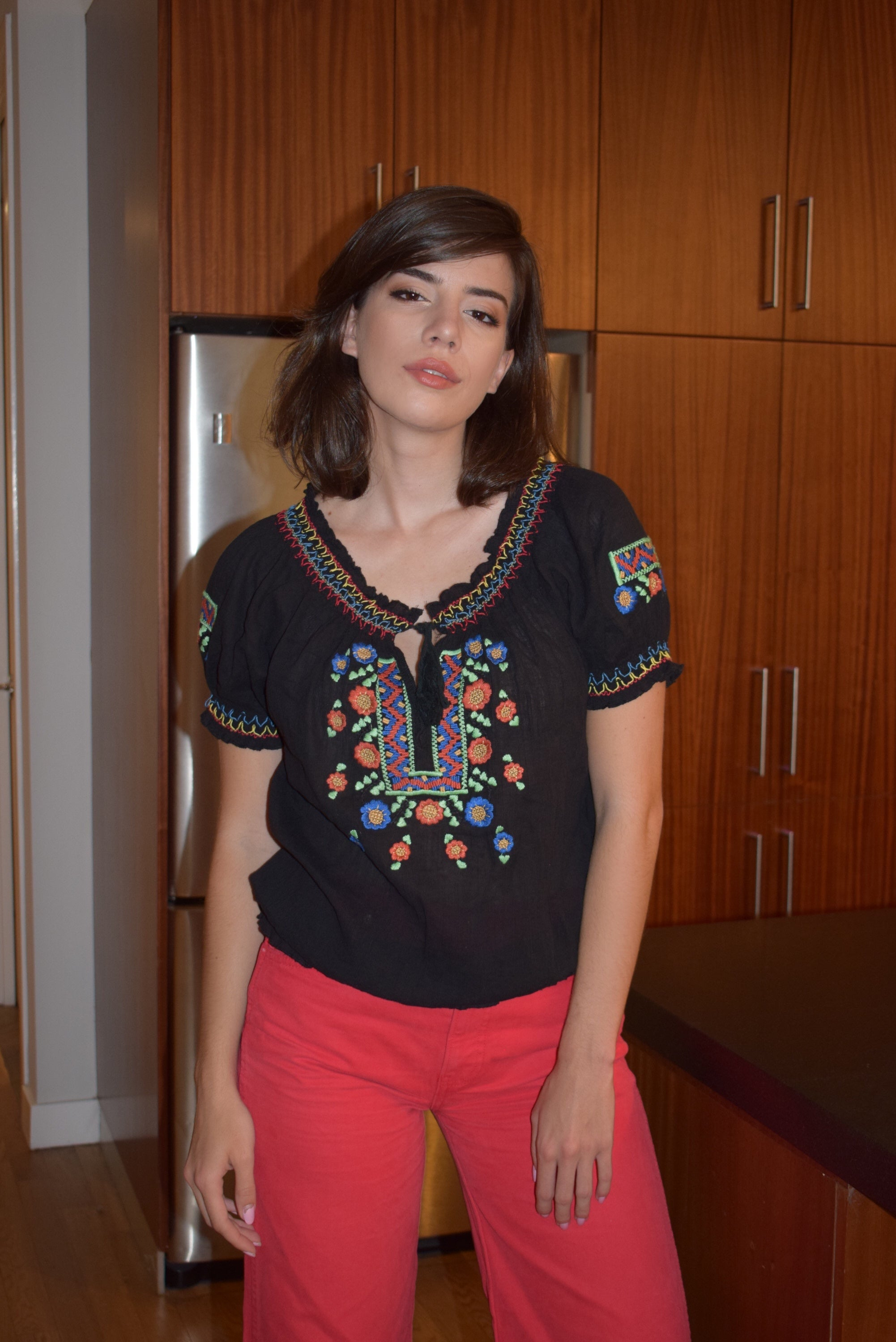 1970's vintage embroidered top 'M'