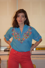 1970's vintage embroidered blouse 'M'